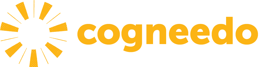 Cogneedo's dynamic logo, represented by overlaid stylized gears of varying sizes.