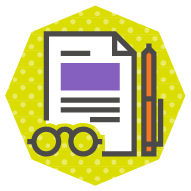 icon of a contract with a pair of glasses for paying attention and a pen for signing