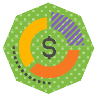 icon of a pie chart with a dollar sign in the middle, symbolizing a financing plan