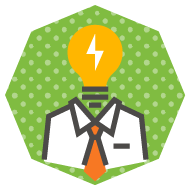 icon of a business person with a lightbulb for a head
