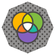 icon of a stylized RGB color model using Cogneedo's brand colors instead of traditional red, green, and blue