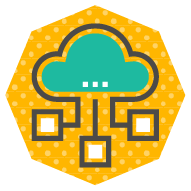 icon of a cloud with connected nodes branching outward