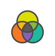 icon of a stylized CMYK color model using Cogneedo's brand colors instead of traditional magenta, yellow, and cyan