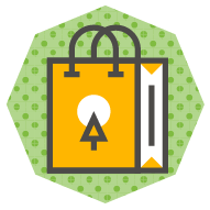 icon of a shopping bag with a custom logo