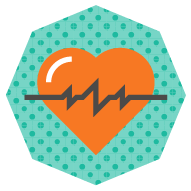 icon of a heart with heartbeat graphic