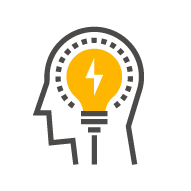 icon of a person with a glowing light bulb instead of a brain