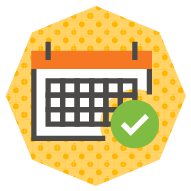 icon of a calendar with a check mark indicating a confirmed date