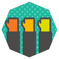 icon of several raised fists of different colors